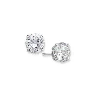 14K White Gold 3mm CZ Earrings New in Gift Box Jewelry
