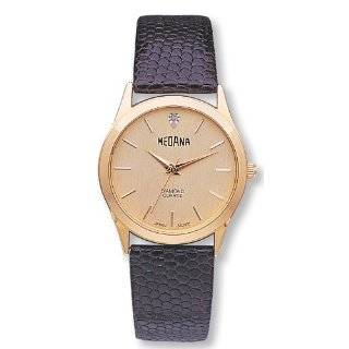 Avalon Mens Classic Gold Tone Round Date Leather Strap