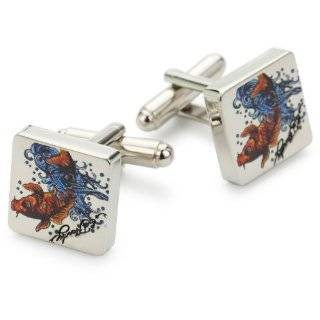 Ed Hardy Koi Fish Mens Base Metal Tattoo Cufflinks With Logo 0.63