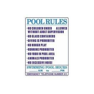 POOL RULES with SWIMMING POOL HOURS, 18x24 Heavy Duty Sign