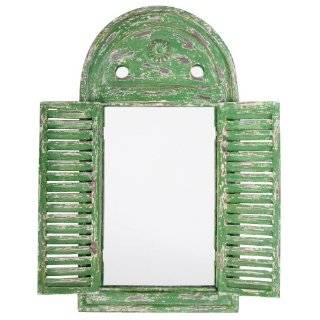 Antique Window Shaped Mirror with Metal Doors