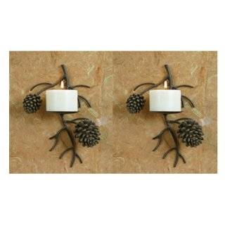 Set of Two Pinecone Pine Cone Candle Wall Sconce Lodge Home Decor