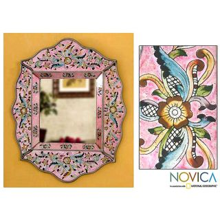 Handcrafted Reverse Painted Glass Pink Floral Wall Mirror (Peru