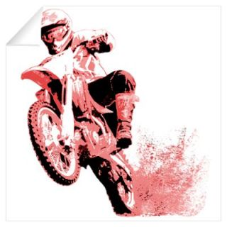 Red dirt bike wheeling in mud Wall Decal