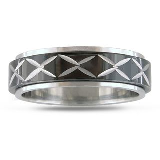 Miadora Stainless Steel Black plated Spinner Ring