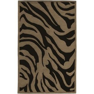 Hand tufted Contemporary Brown Zebra Glamorous New Zealand Wool Rug (3