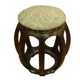 Accent Furniture Wood Carved Ottoman Brown Abstract Floral Pattern