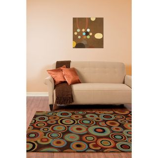 Hand tufted Contemporary Multi Colored Circles Geometric Current New