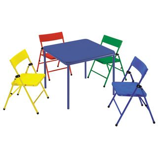 Cosco Kids 5 piece Colored Folding Chair and Table Set