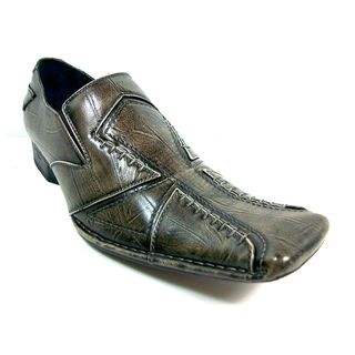 Delli Aldo Mens Distressed Slip on Cross stitched Loafers