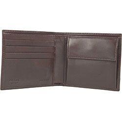 Prada Mens Brown Logo Jacquard Bi fold Wallet