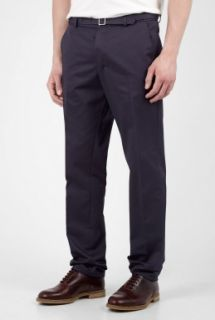 A.P.C.  Navy Gabardine Belted Chinos by A.P.C.