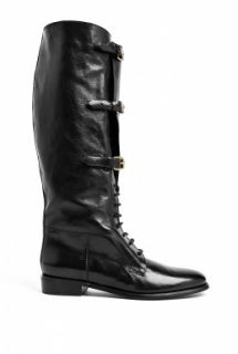 Burberry Shoes & Accessories  Black Brogue Bronte Lace Up Flat Boots by Burberry Shoes & Accessories