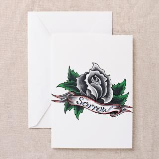 Black Rose Sorrow tattoo design Greeting Cards (Pa