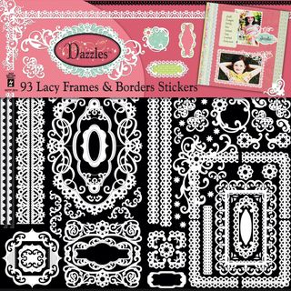 Dazzles Stickers 6X12 2 Sheets White Lacy Frames