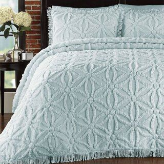 Home Arianna Chenille Pearl Blue King Bedspread Set: Home & Kitchen