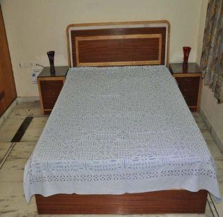Furnishing Cotton Double Bed Size Bedspread 88 x 109 Inches Lal haveli