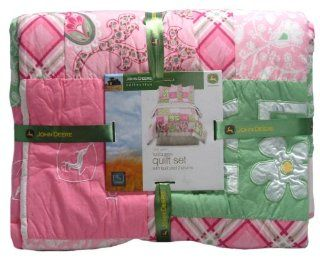 John Deere Bedding Girls Quilt and Sham Set, Full/Queen