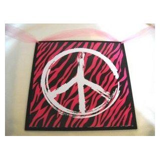 Zebra Peace Sign Hot Pink Black Teen Bedroom Wall Art