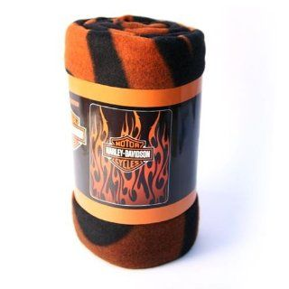 Harley Davidson Fleece Blanket   Vertical Flames