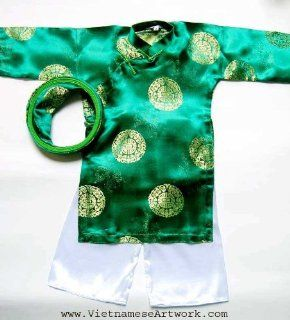 Ao Dai, Vietnamese Traditional Dress for Children   Green