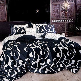 : 1100TC Black & White Swirl 7 pcs Bedding Set   King: Home & Kitchen