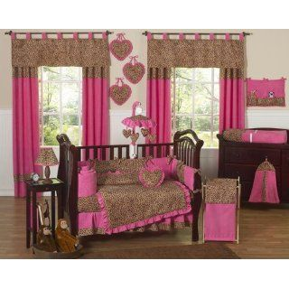 Cheetah Animal print Pink and Brown Baby Girl Bedding 9pc