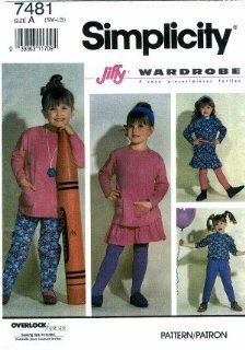 Simplicity 7481 Sewing Pattern Girls Knit Pants Skirt