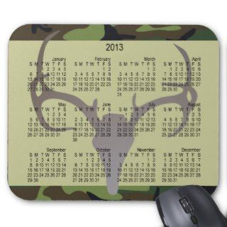 2013 New Year Calendar Camo with Deer Skull Mousepad