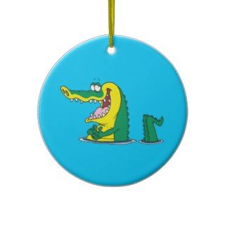 silly alligator crocodile cartoon character ornaments
