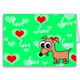 Love You Greeting Card with Cartoon Chihuahua