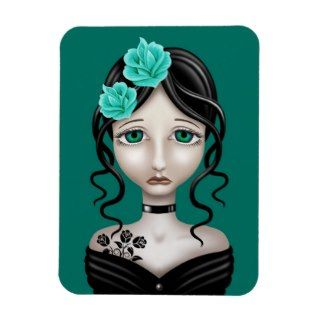 Sad Girl with Teal Blue Roses Rectangular Magnet
