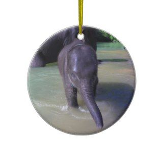 Cute baby elephant in river christmas ornaments