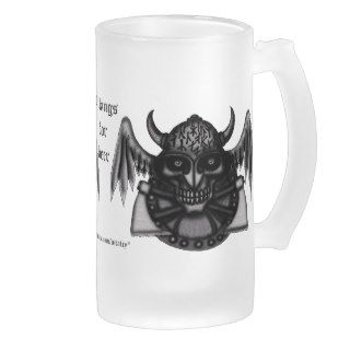 Cool viking skull with runes graphic beer mug