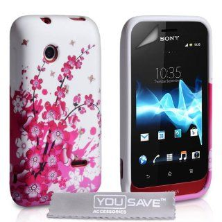 Emartbuy ® Sony Xperia Tipo Pink Garden Clip On Protection Case