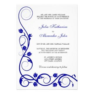 Elegant Royal Blue and White Swirls Invitation