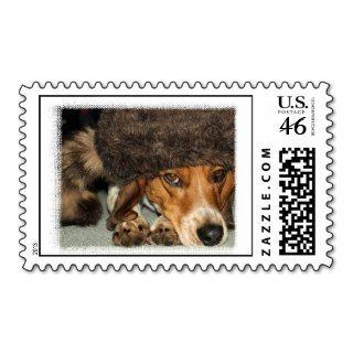 Davy Crockett Beagle dog hunting postage stamps
