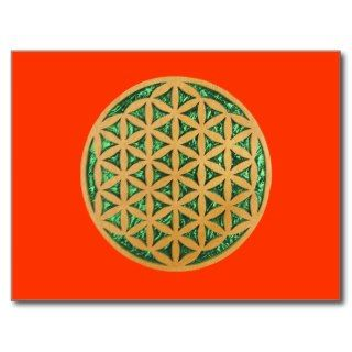 Wood Carving of Flower of Life Post Cards