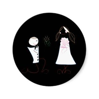 Bride Groom Proposing Clipart Wedding Stickers