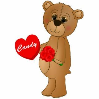 Valentines Teddy Bear with Roses & Loveheart Candy Acrylic Cut Out
