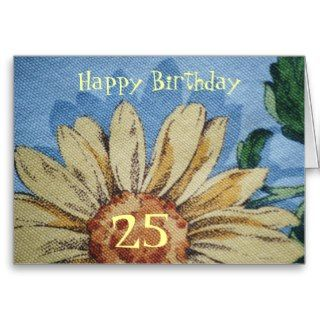 Happy 25th Birthday, big Sunflower Greeting Cards