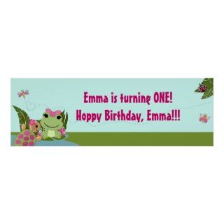 Girl FROG Birthday Party Banner HFG Posters