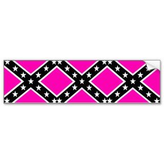 Pink & Black Girlie Rebel Confederate Flag Bumper Sticker