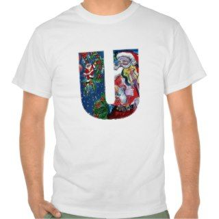 XMAS U LETTER /SANTA CLAUS WITH VIOLIN MONOGRAM T SHIRTS