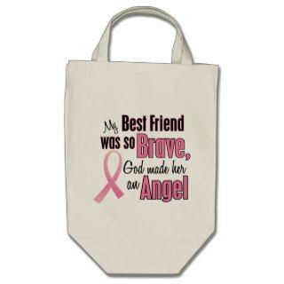 Angel BEST FRIEND Breast Cancer T Shirts & Apparel Tote Bags