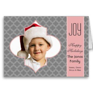 Mod quatrefoil pink gray photo Holiday card