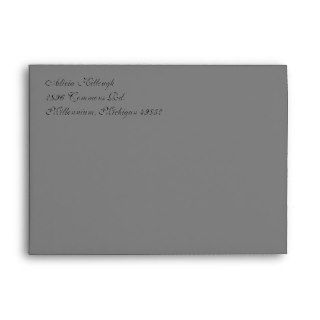 Fancy Script Gray A7 Return Address Envelopes
