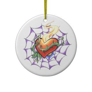 Cool Heart Thorn and Spider Web tattoo Christmas Tree Ornament