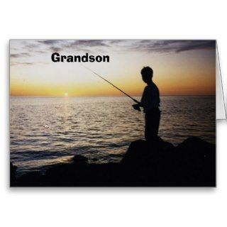 Grandsons Birthday, youth fising in sunset Cards