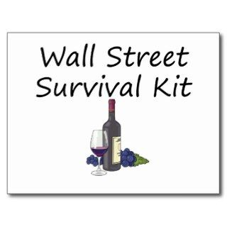 Wall Street Survival Kit Wine Bottle Glass Grapes Postcard